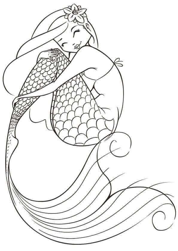 A Cute Mermaid Coloring Page