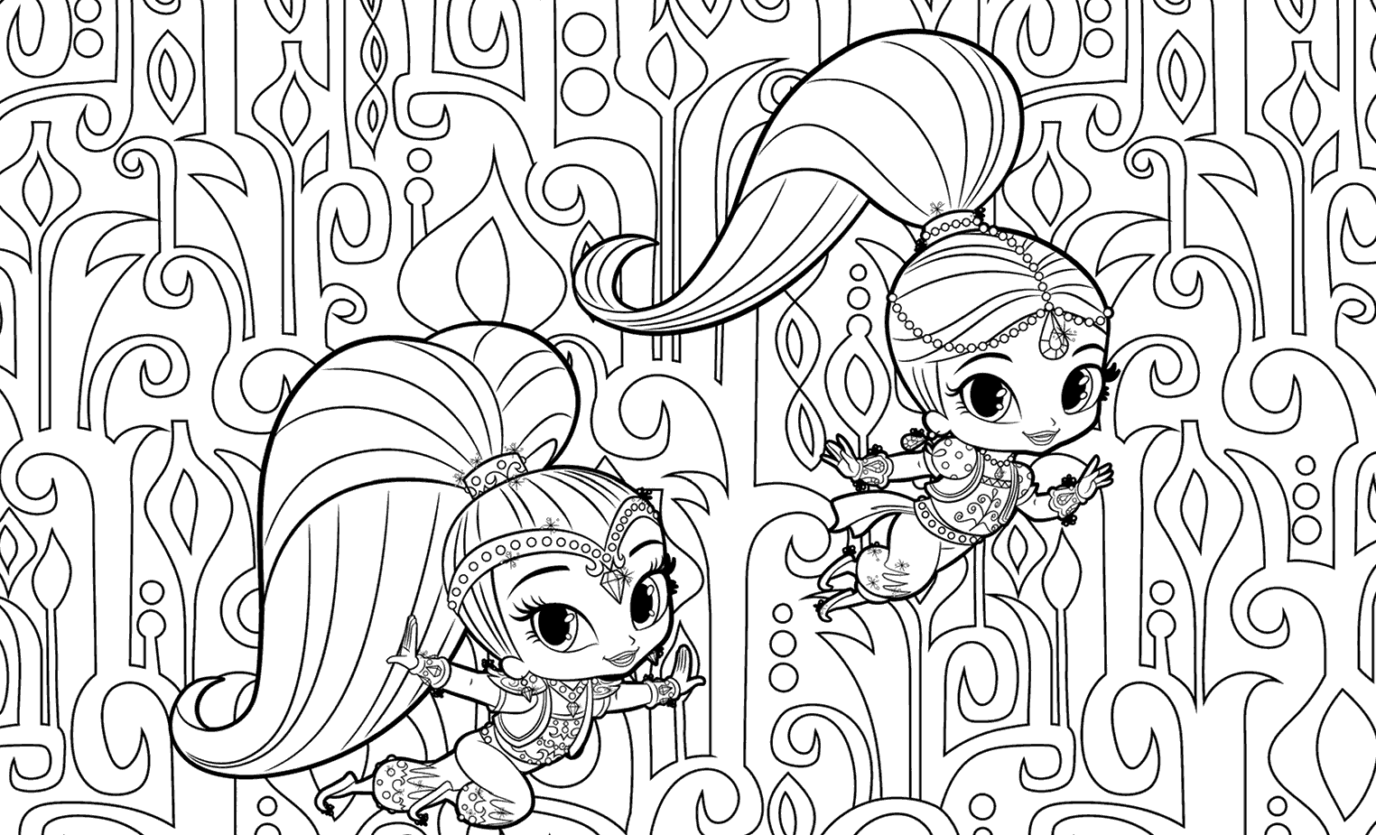 A Detailed Shimmer And Shine Coloring Page Coloring Page