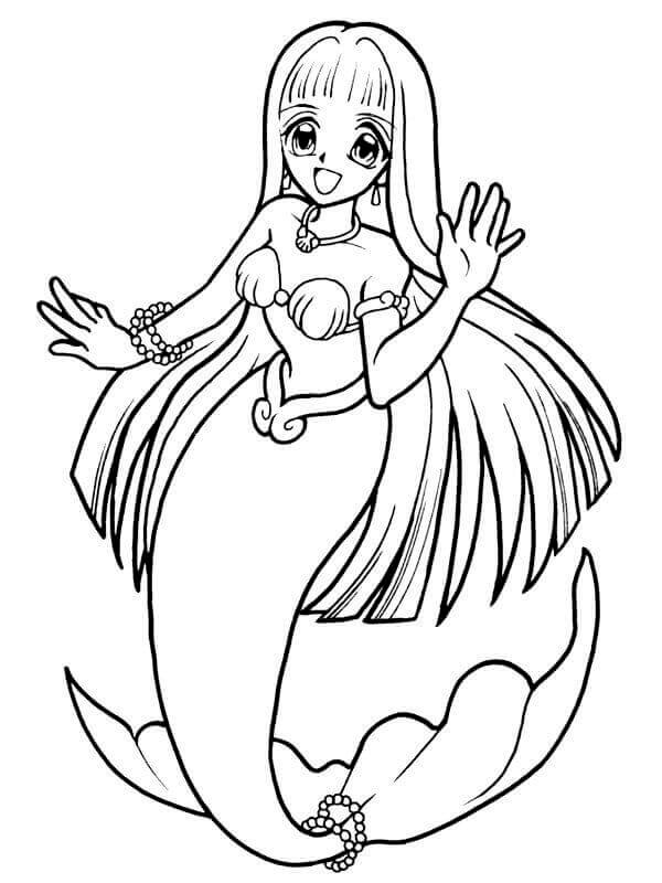 Anime Mermaid Coloring Page