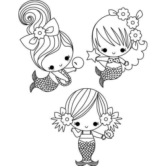 Amazing Baby Mermaids Coloring Page