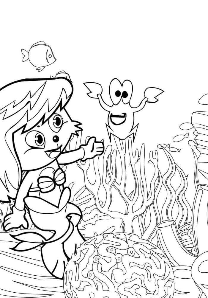 Cartoon Mermaid Coloring Page