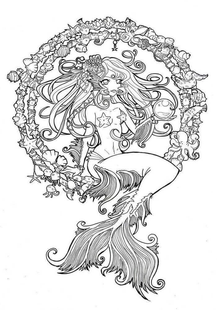 Intricate Mermaid Coloring Page