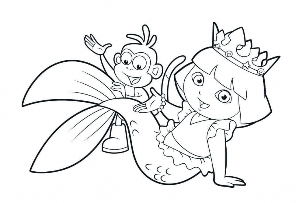 Dora As A Mermaid Coloring Page