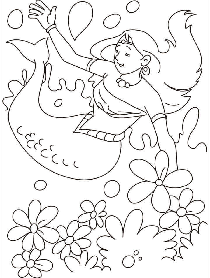 Easy Mermaid Coloring Page