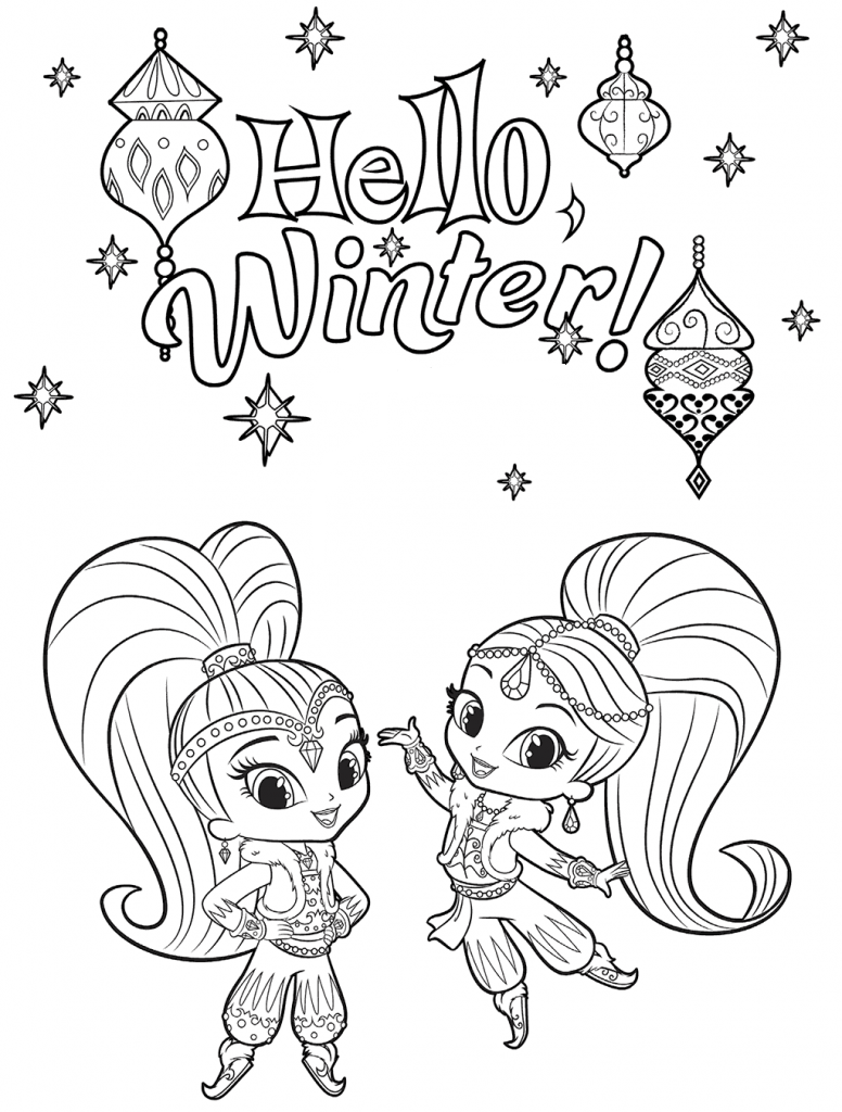 Hello Winter Coloring Page