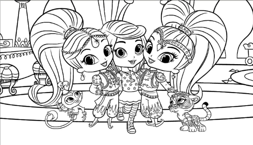 Leah With Shimmer And Shine Coloring Pages