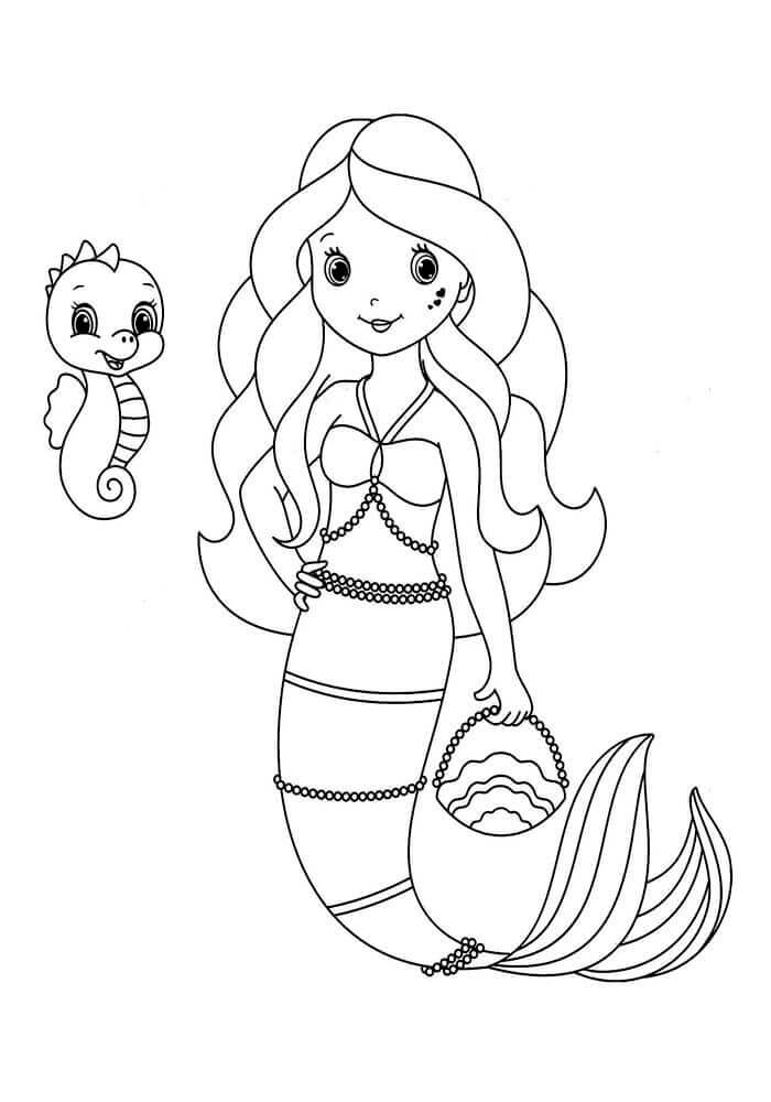 Little Mermaid With Her Little Pet Coloring Page