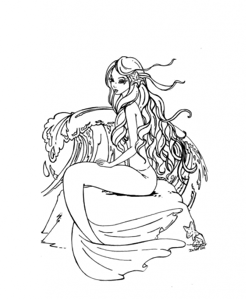 Mermaid In A Deep Thought Coloring Page