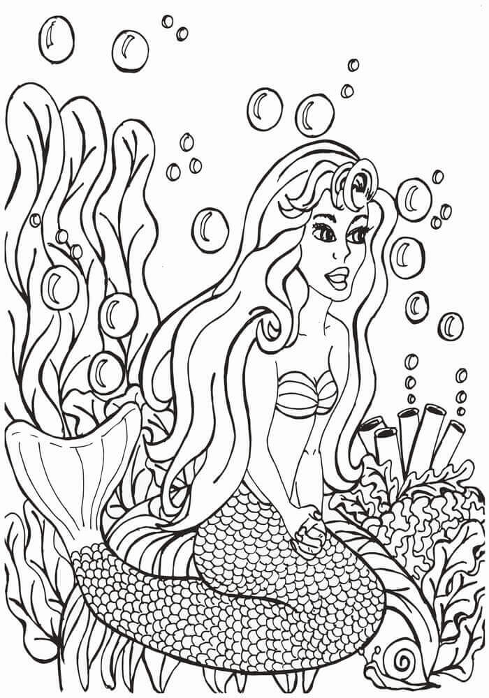 Mermaid In Anemone Coloring Page