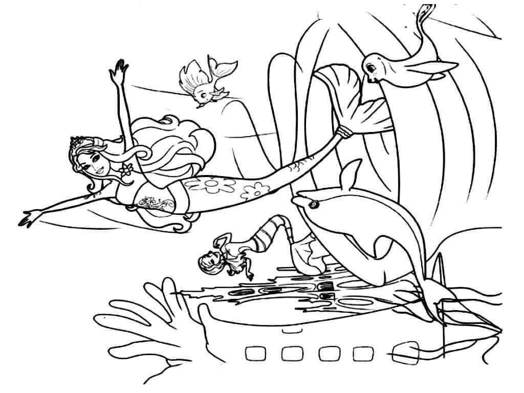 Mermaid In Her Den Coloring Page