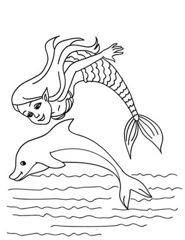 Mermaid Playing With A Dolphin Coloring Page