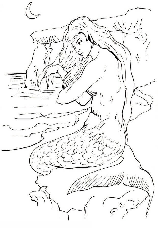 Mermaid Resting On The Shore Coloring Page
