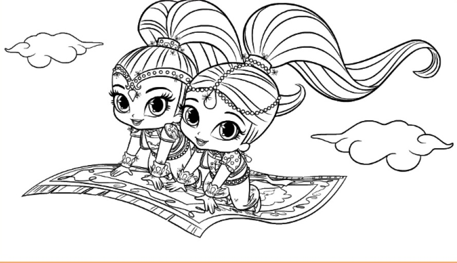 Shimmer And Shine On The Flying Carpet Coloring Page