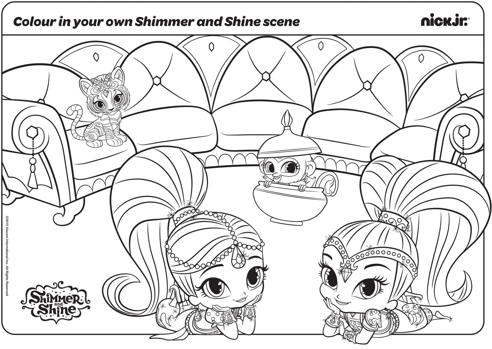 Shimmer And Shine With Their Pets Coloring Page