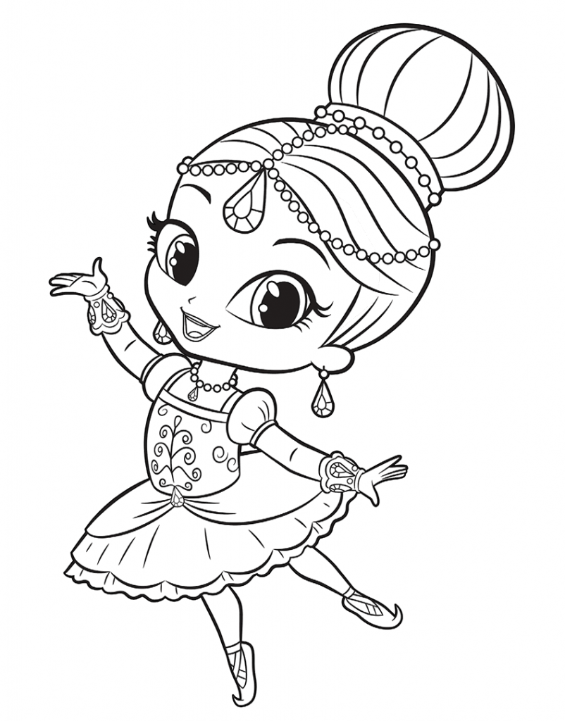 Shimmer Doing Ballet Shimmer and Shine Coloring Pages