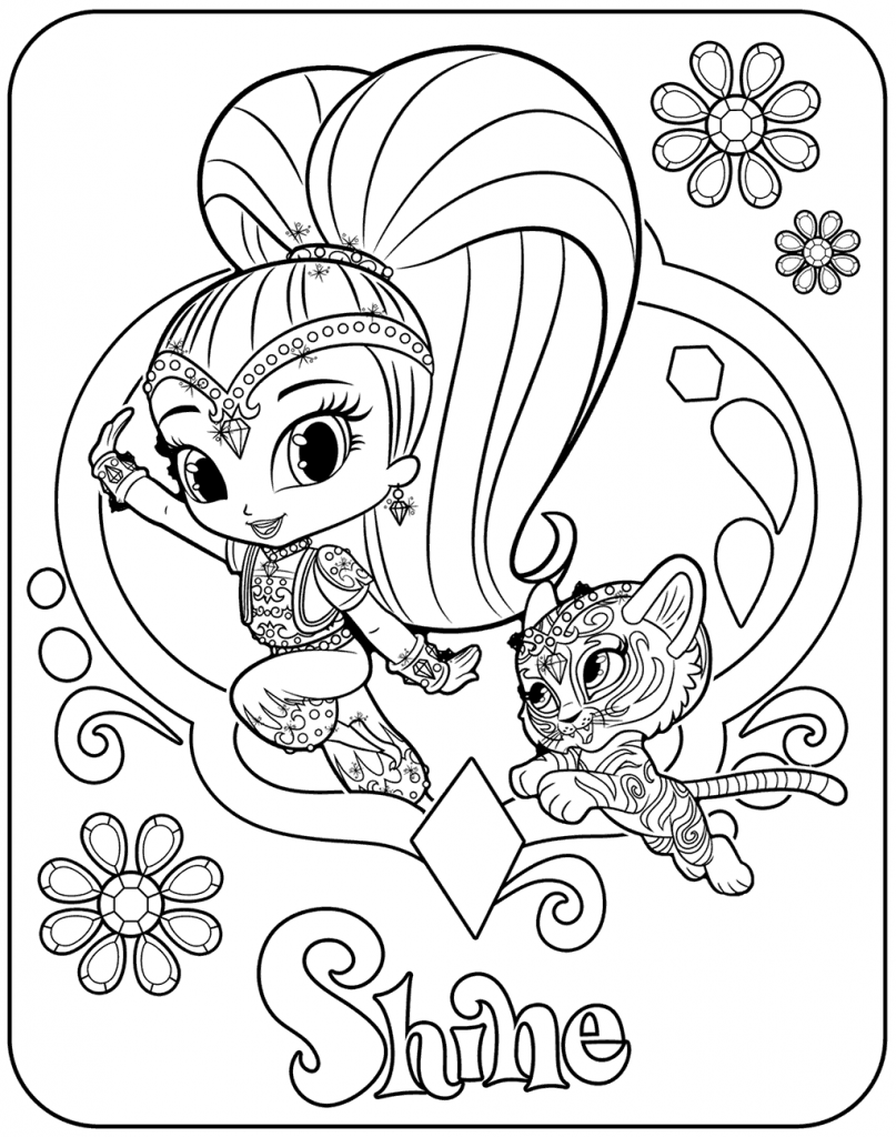 Shine With Nahal Shimmer and Shine Coloring Pages