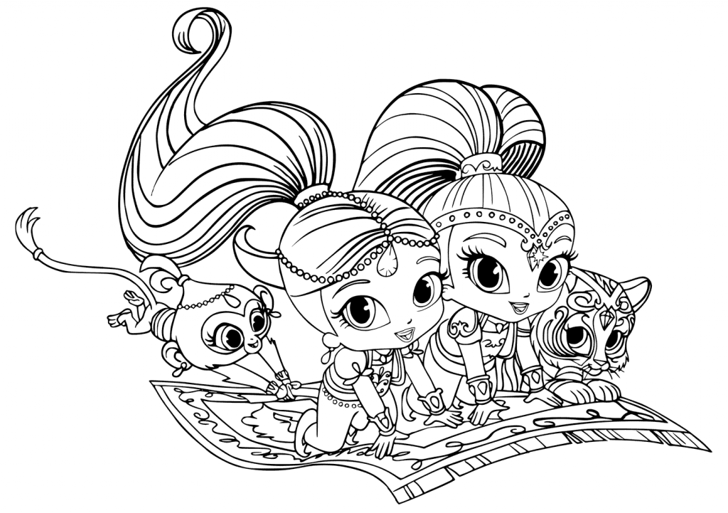 The Team On The Magic Carpet Shimmer and Shine Coloring Pages
