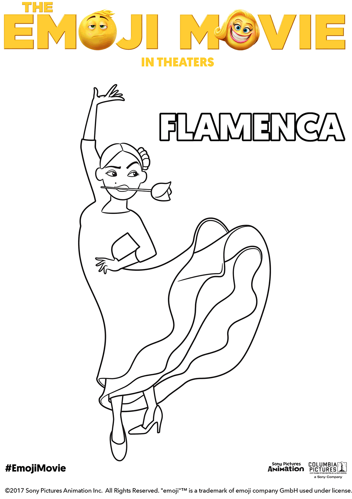 The Emoji Movie Flamenca Coloring Page