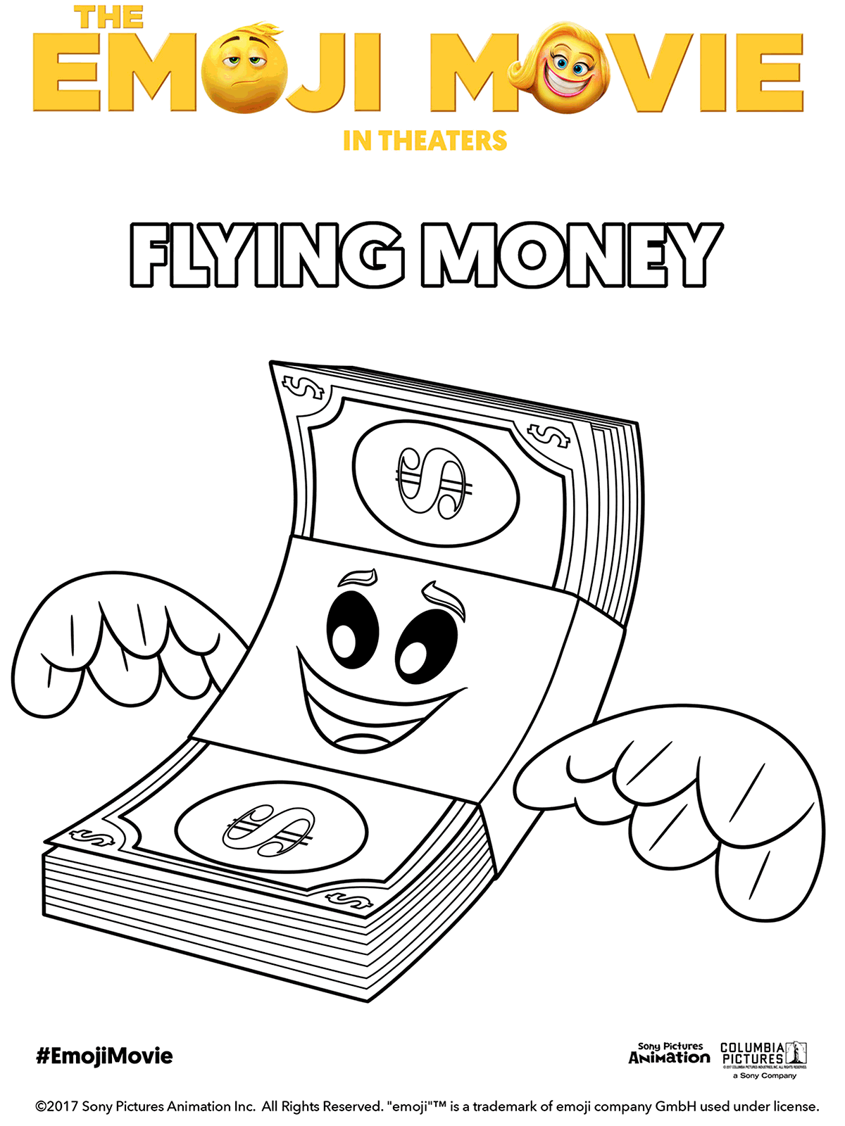 The Emoji Movie Flying Money Coloring Page