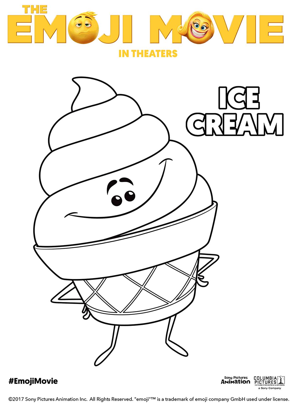 The Emoji Movie Ice Cream Coloring Page