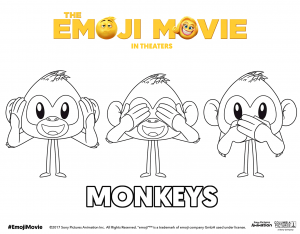 The Emoji Movie Three Monkeys Coloring Pages