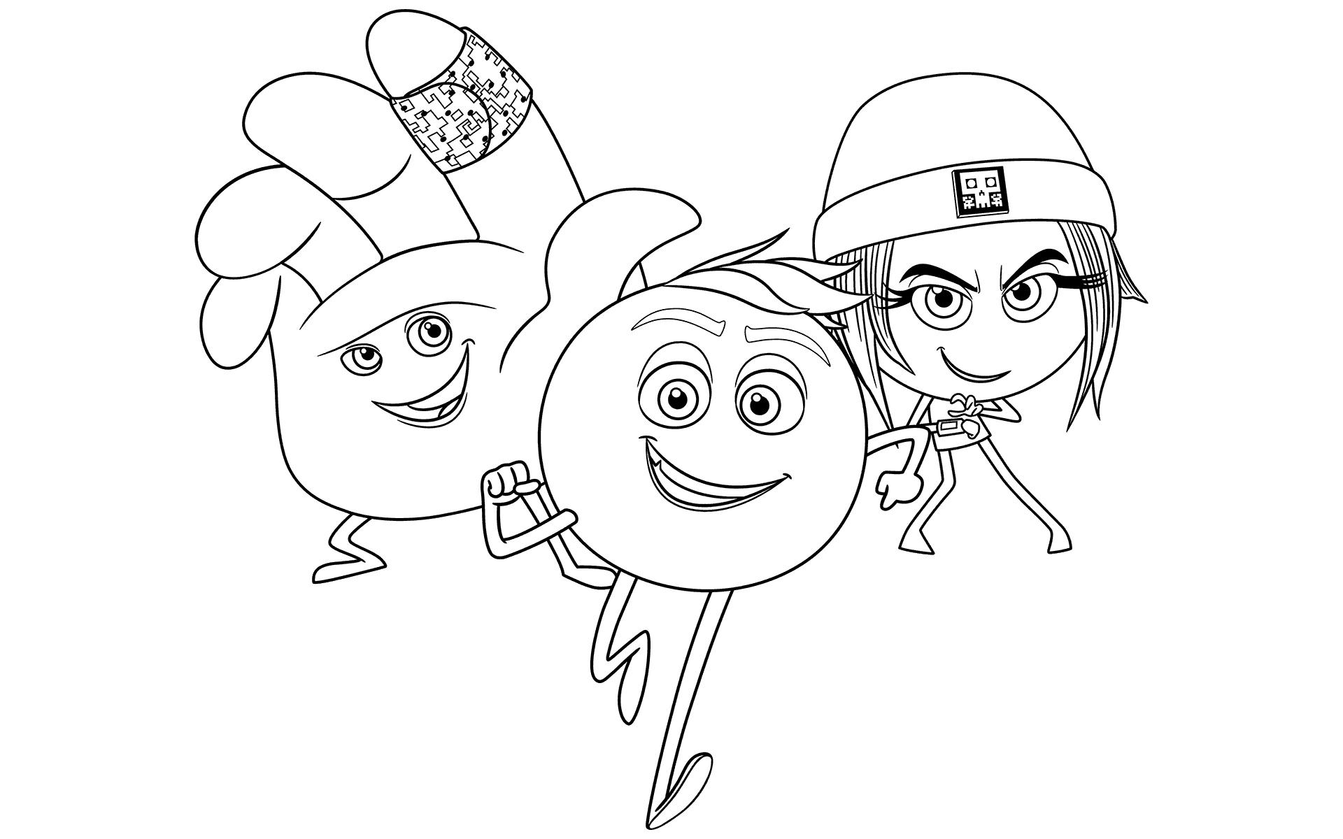 the emoji movie trio coloring page