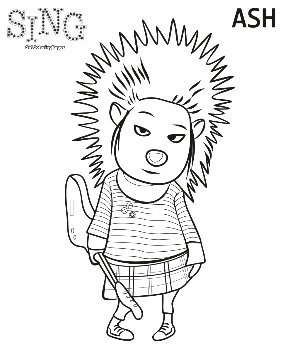 Ash Sing Coloring Page