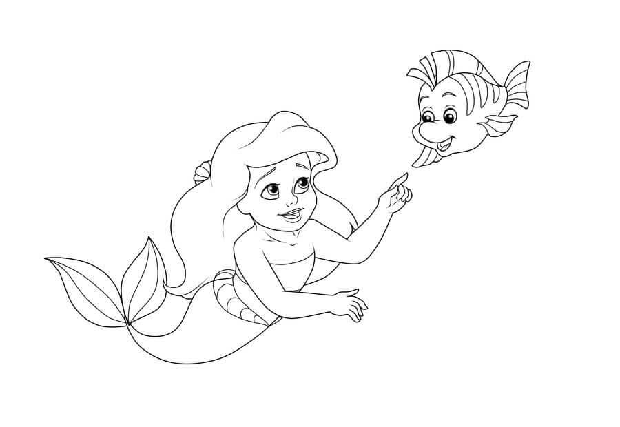 Baby Ariel With Flounder Coloring Page