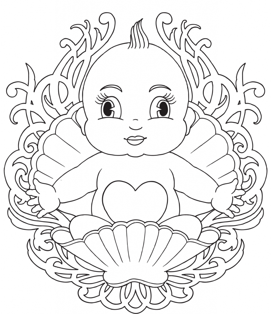 Baby Born In A Shell Babies Coloring Page