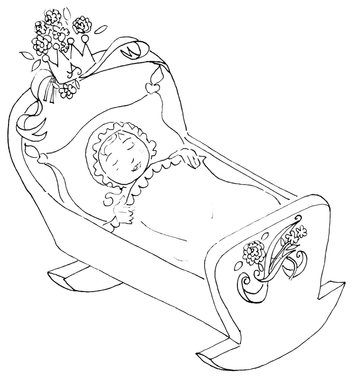 Baby In A Cradle Coloring Page