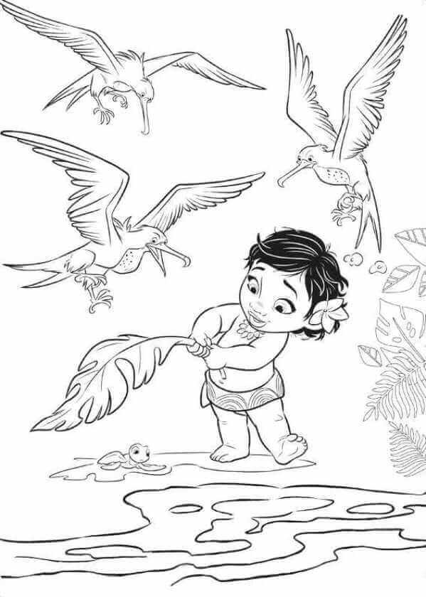 Baby Moana Rescuing The Turtle Moana Coloring Pages