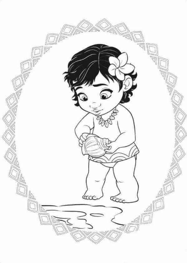 Baby Moana With Her Shell Moana Coloring Pages