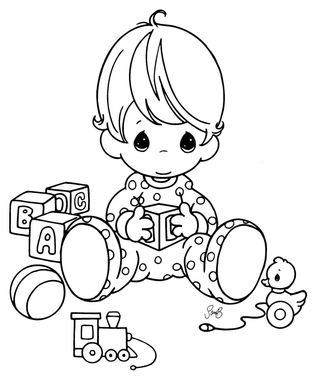 Baby Playing With His Toys Coloring Page