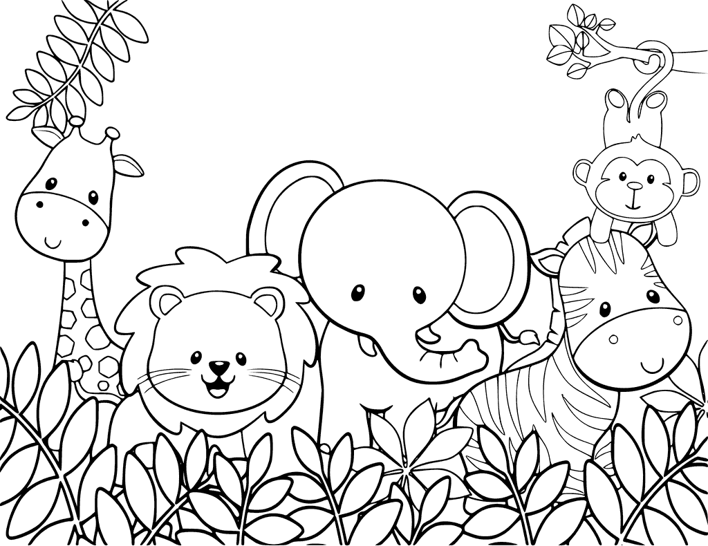 Baby Safari Animals Coloring Page