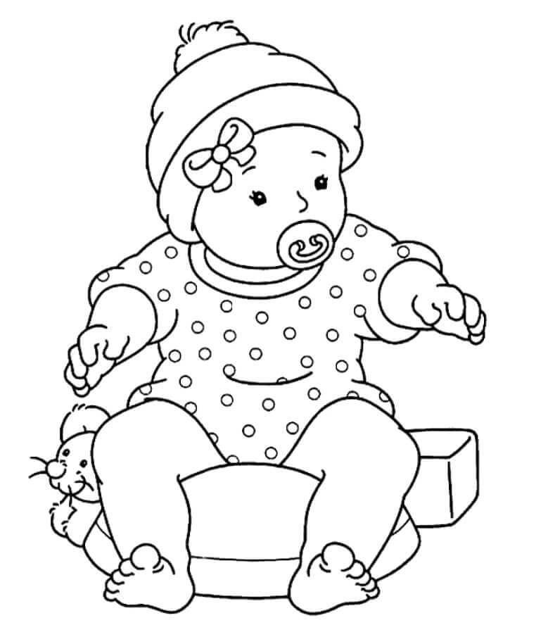 Baby With A Pacifier Coloring Page
