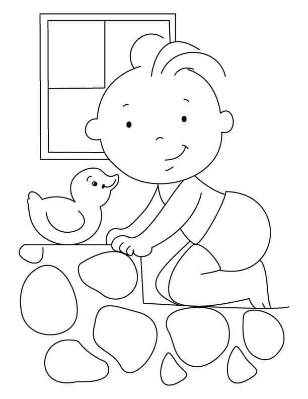 Baby With Toy Duck Coloring Page