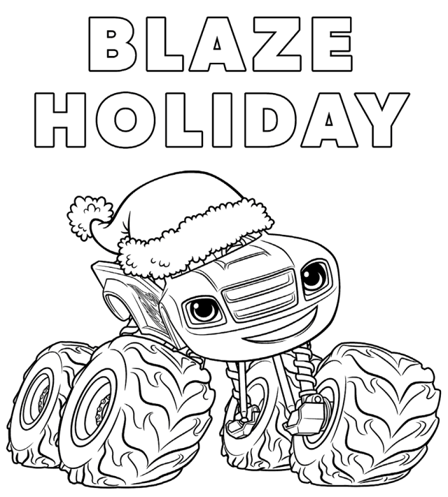Blaze and the monster machines christmas coloring pages