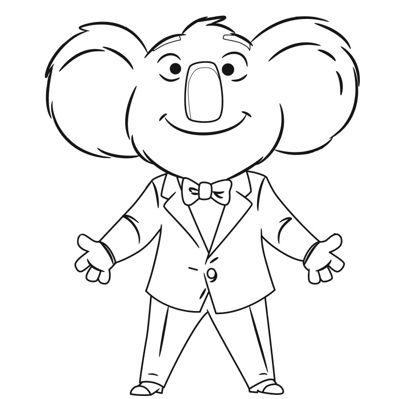 Buster Moon Sing Movie Coloring Page