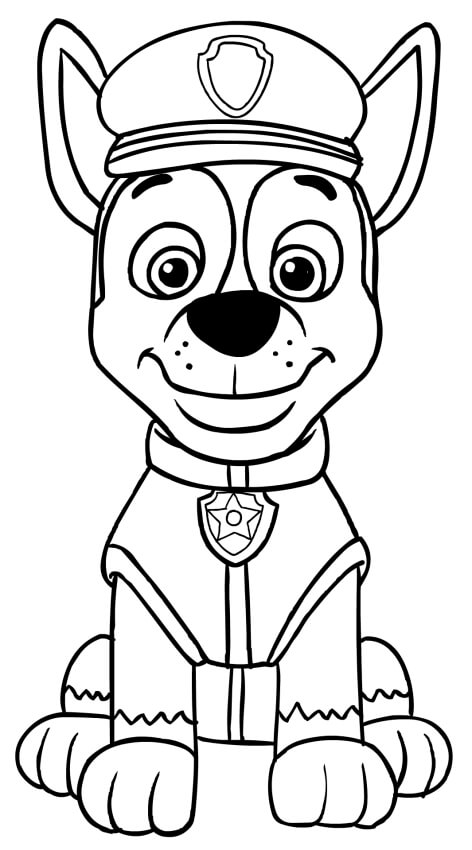 Chase Posing Paw Patrol Coloring Page