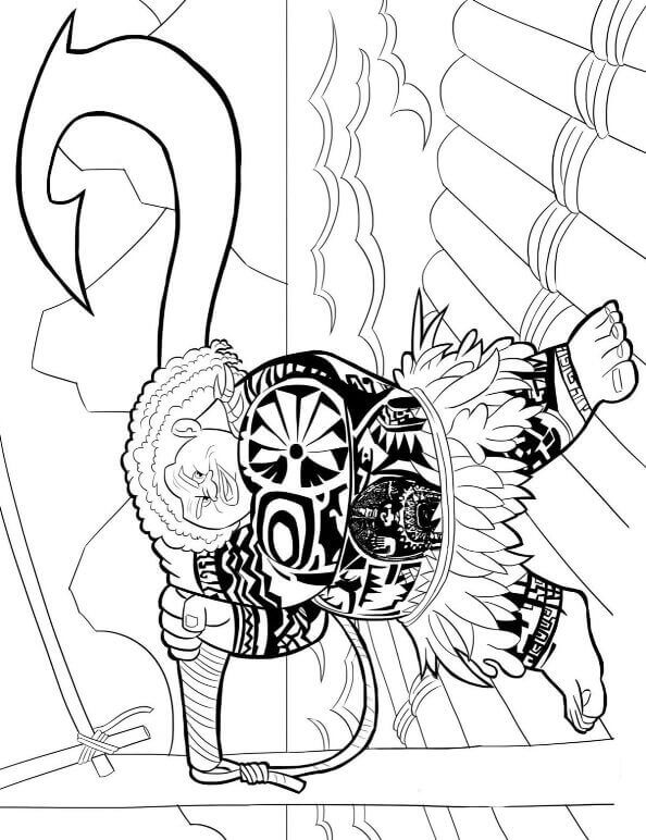 Confident Maui From Moana Coloring Pages