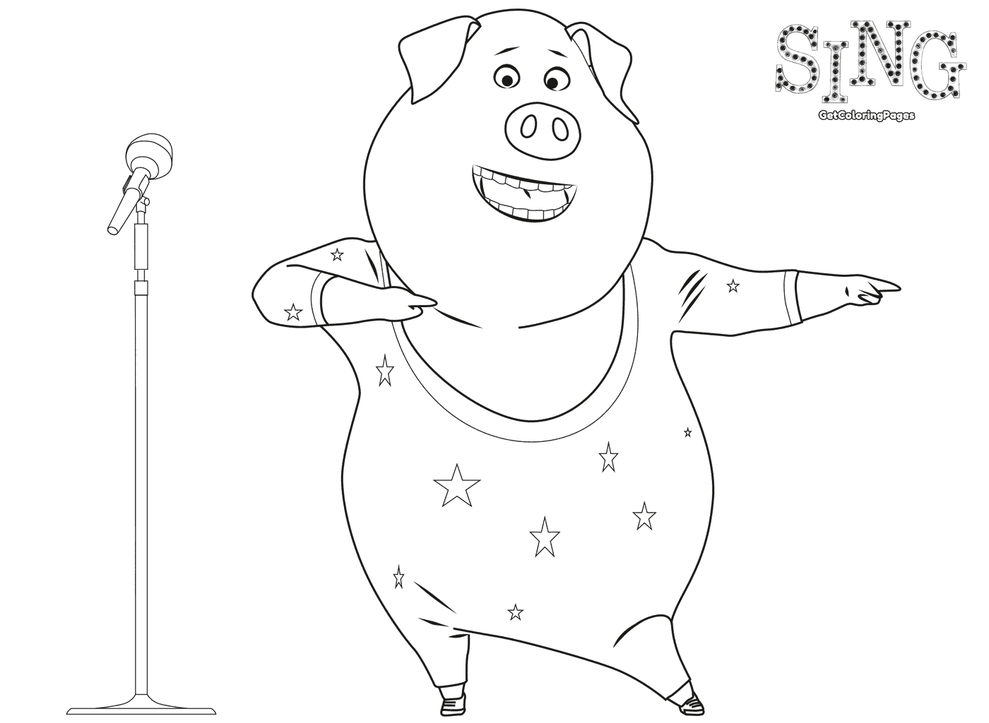 Dancing Gunter Sing Movie Coloring Page