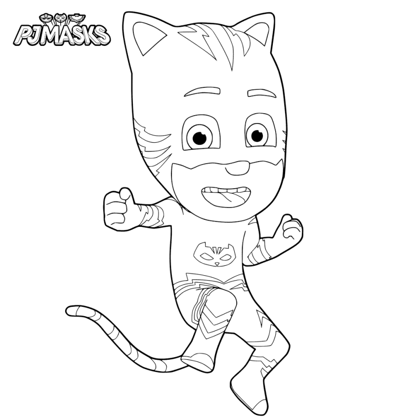 Ecstatic Catboy PJ Masks Coloring Page