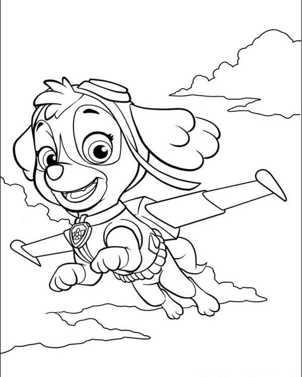 Flying Skye Paw Patrol Coloring Page