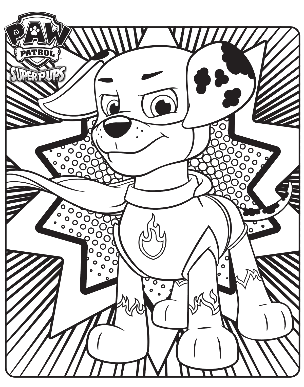 Marshall The Super Pup Paw Patrol Coloring Page