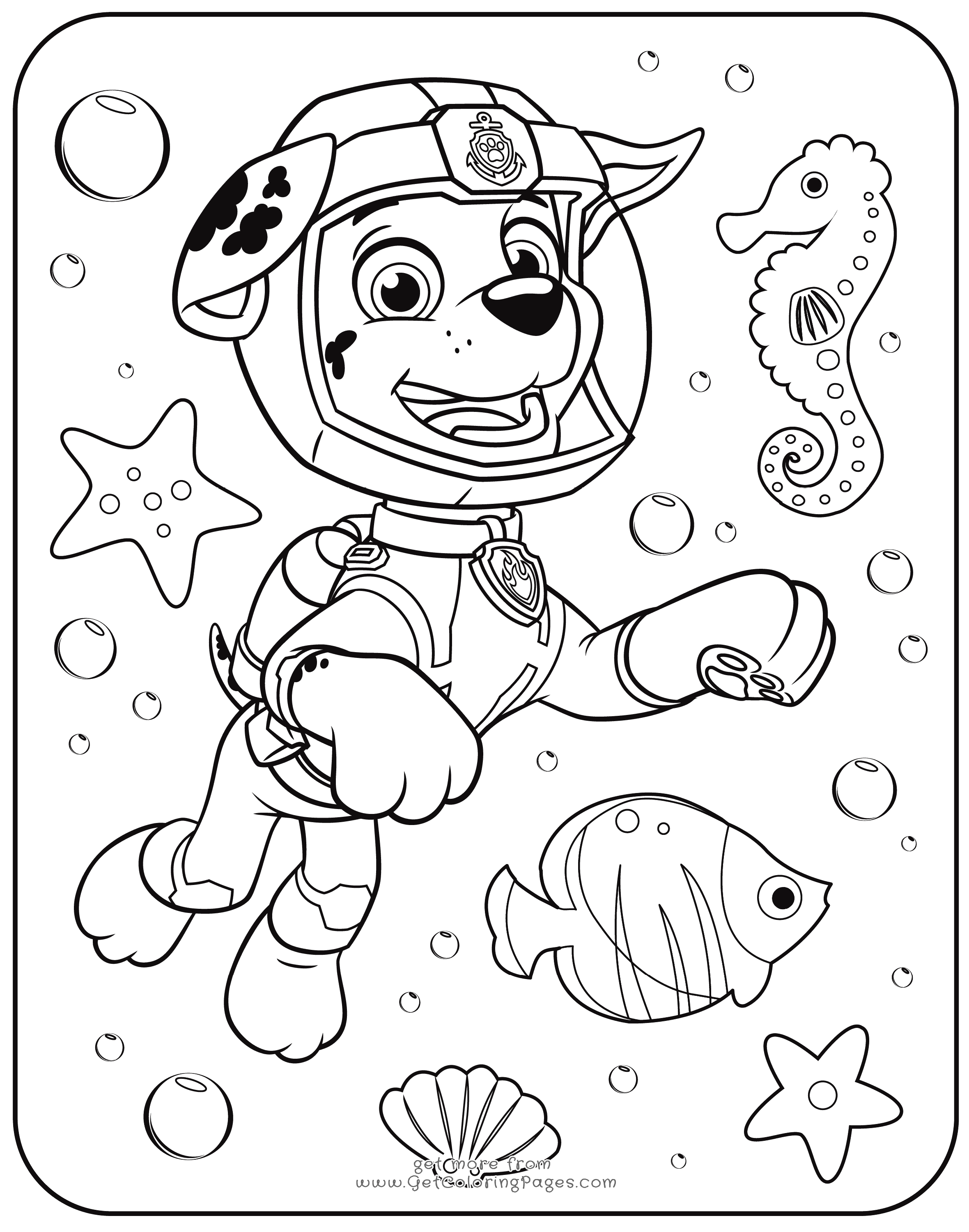 Marshall Underwater Paw Patrol Coloring Page