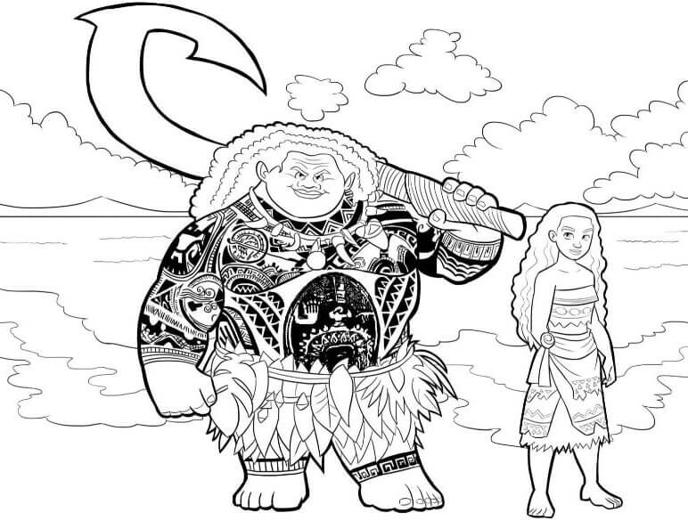 Maui And Moana All Set To Sail Moana Coloring Pages