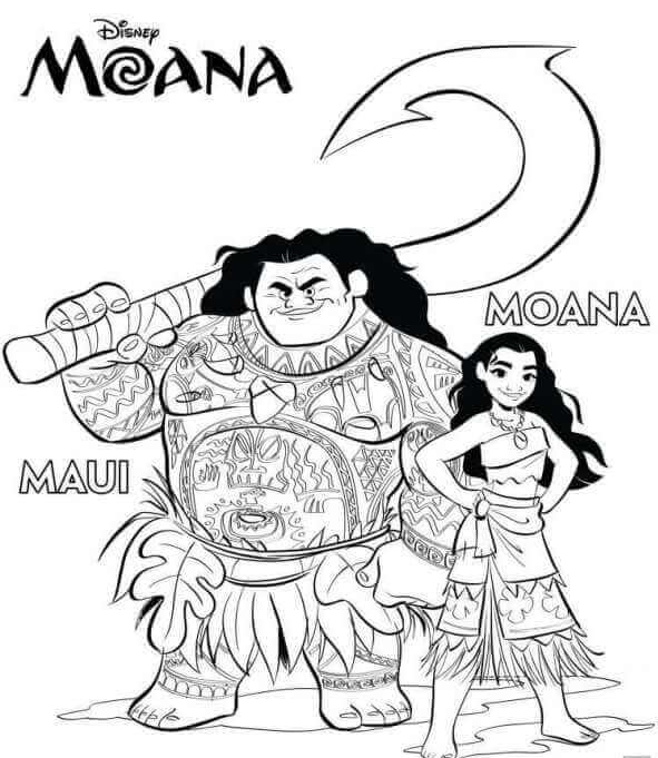 Maui And Moana Coloring Pages