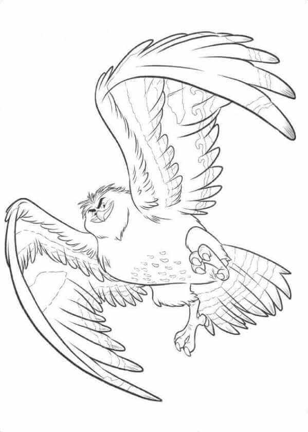 Maui As Falcon Moana Coloring Sheet