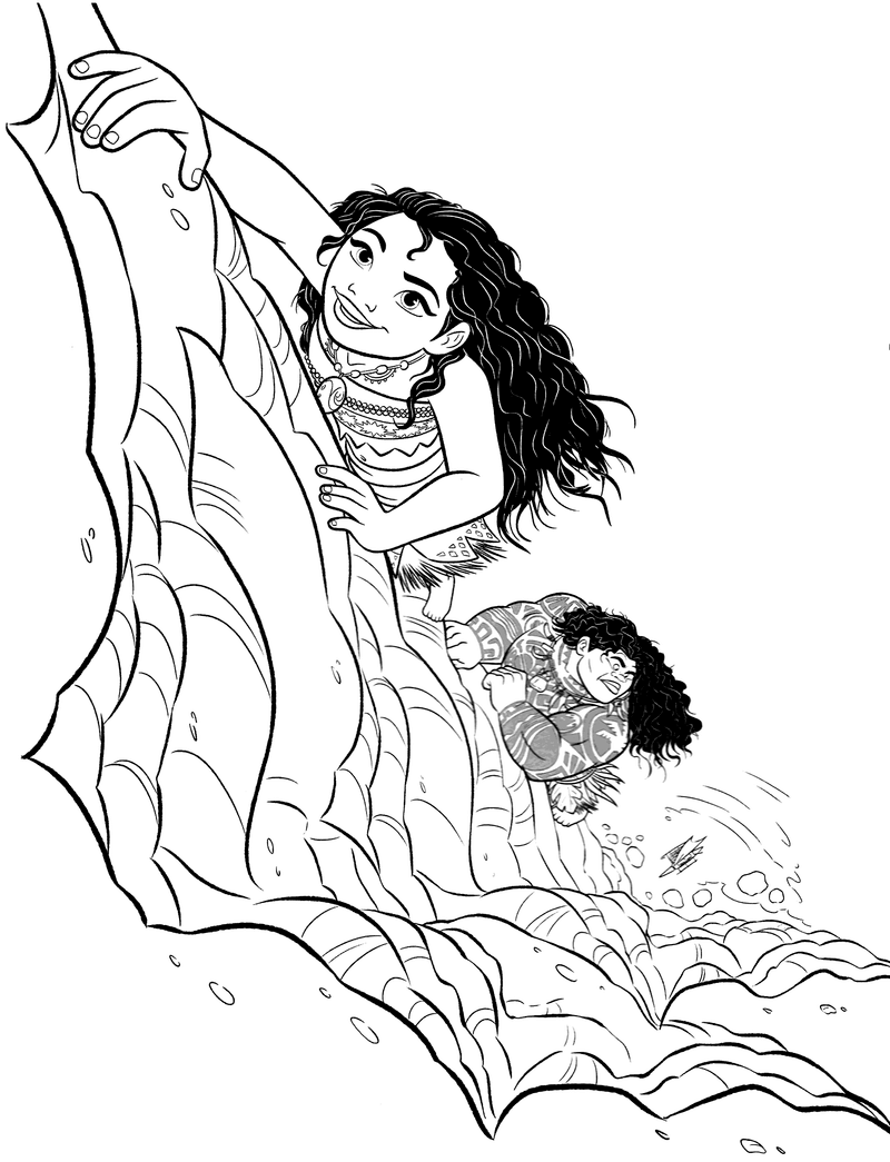 Moana And Maui Climbing The Cliff Coloring Page