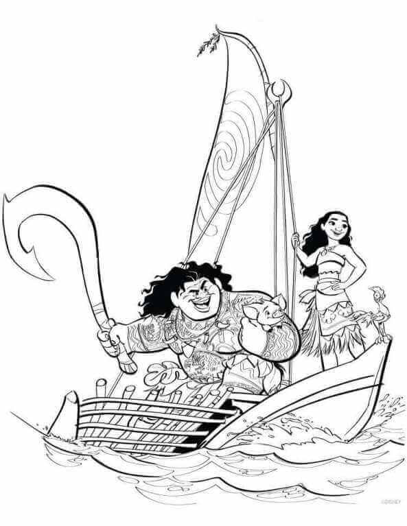 Moana And Maui Sailing Coloring Page